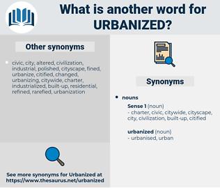 urbanized, synonym urbanized, another word for urbanized, words like urbanized, thesaurus urbanized
