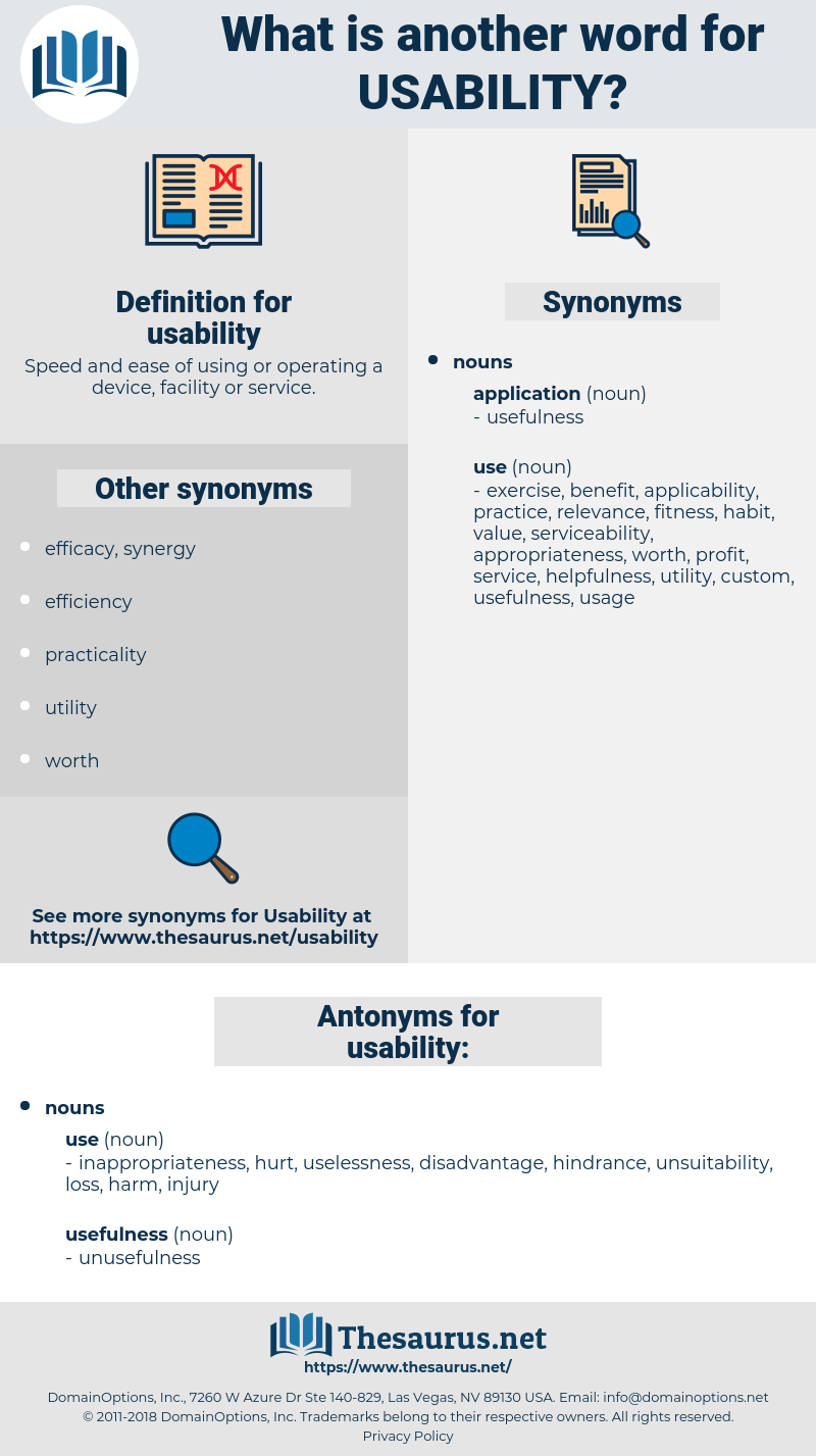 Synonyms for USABILITY, Antonyms for USABILITY - Thesaurus net
