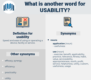 usability, synonym usability, another word for usability, words like usability, thesaurus usability