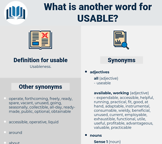 usable, synonym usable, another word for usable, words like usable, thesaurus usable