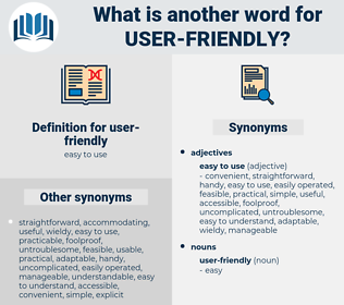 user-friendly, synonym user-friendly, another word for user-friendly, words like user-friendly, thesaurus user-friendly