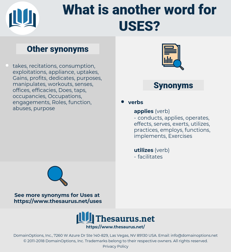 uses, synonym uses, another word for uses, words like uses, thesaurus uses