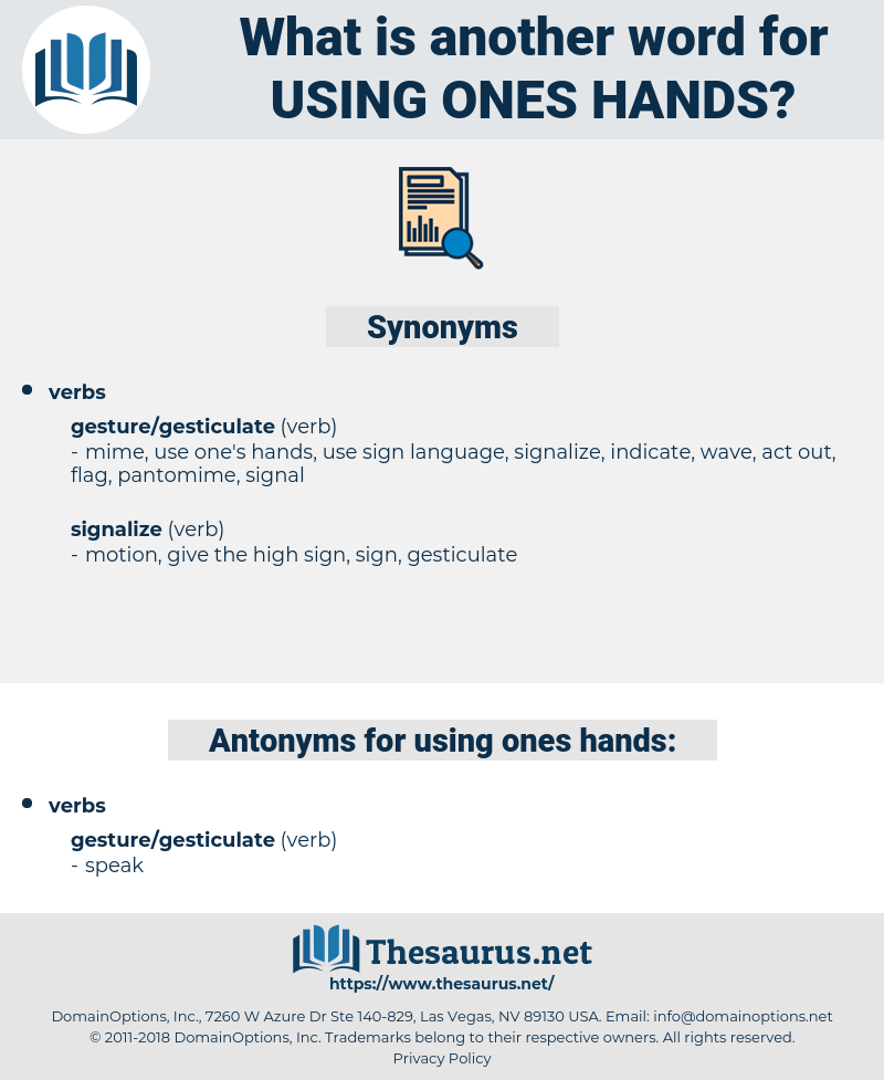 using ones hands, synonym using ones hands, another word for using ones hands, words like using ones hands, thesaurus using ones hands