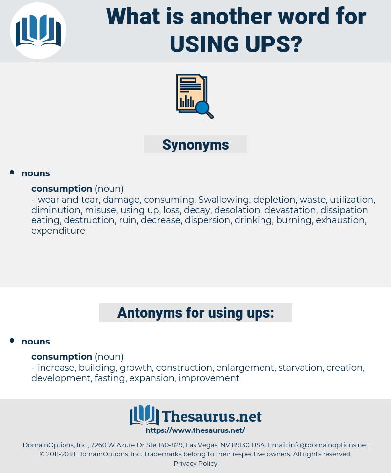 using ups, synonym using ups, another word for using ups, words like using ups, thesaurus using ups