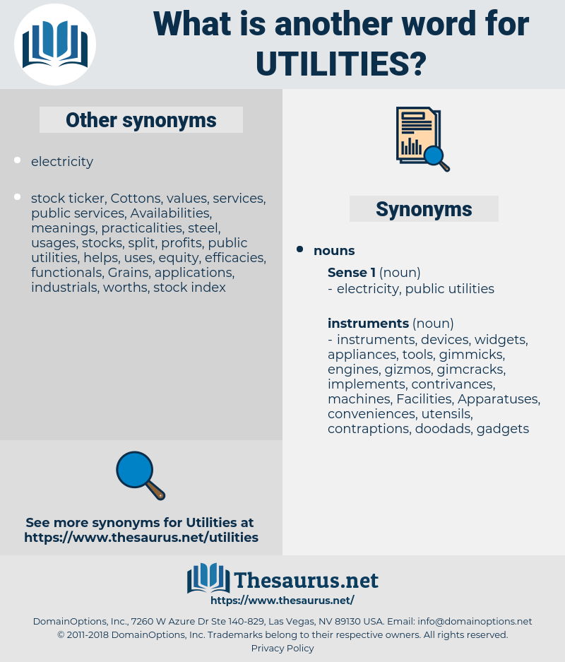 utilities, synonym utilities, another word for utilities, words like utilities, thesaurus utilities