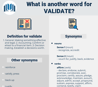 validate, synonym validate, another word for validate, words like validate, thesaurus validate
