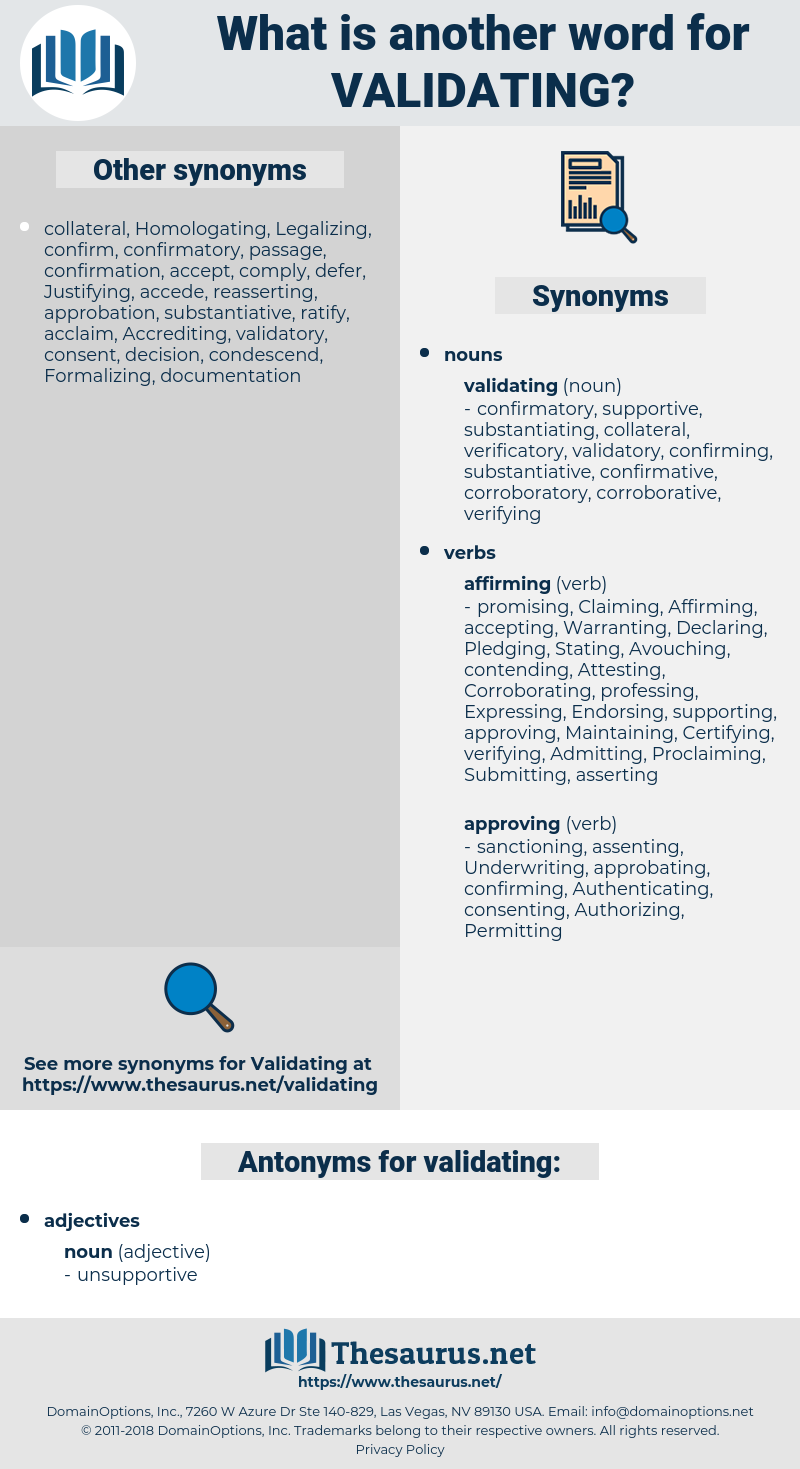 validating, synonym validating, another word for validating, words like validating, thesaurus validating