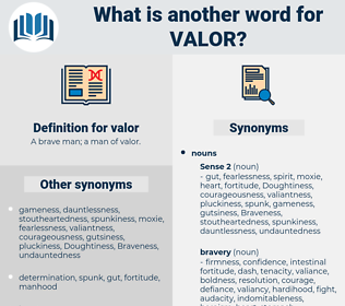 valor, synonym valor, another word for valor, words like valor, thesaurus valor