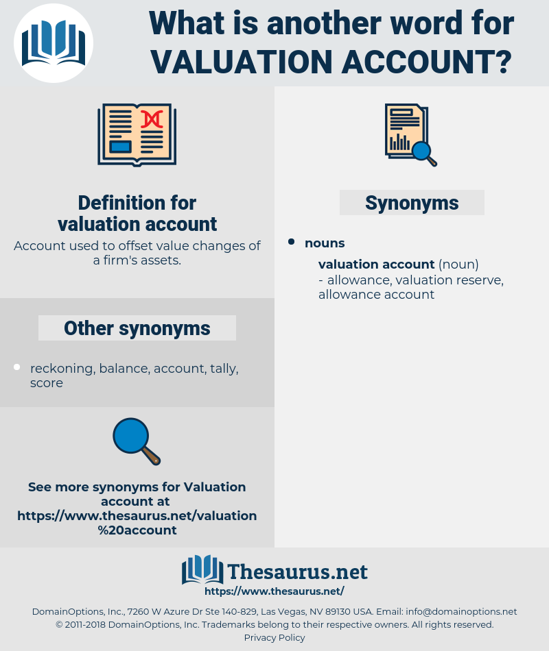 valuation account, synonym valuation account, another word for valuation account, words like valuation account, thesaurus valuation account