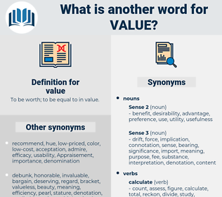 value, synonym value, another word for value, words like value, thesaurus value