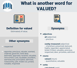 valued, synonym valued, another word for valued, words like valued, thesaurus valued