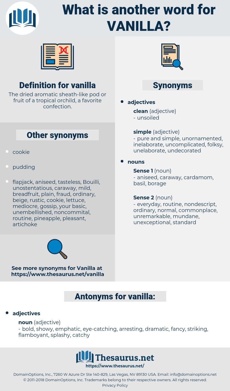 vanilla, synonym vanilla, another word for vanilla, words like vanilla, thesaurus vanilla