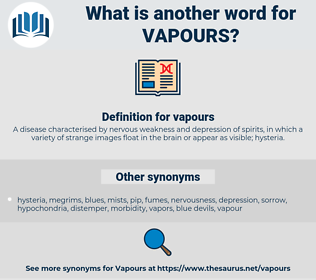 vapours, synonym vapours, another word for vapours, words like vapours, thesaurus vapours