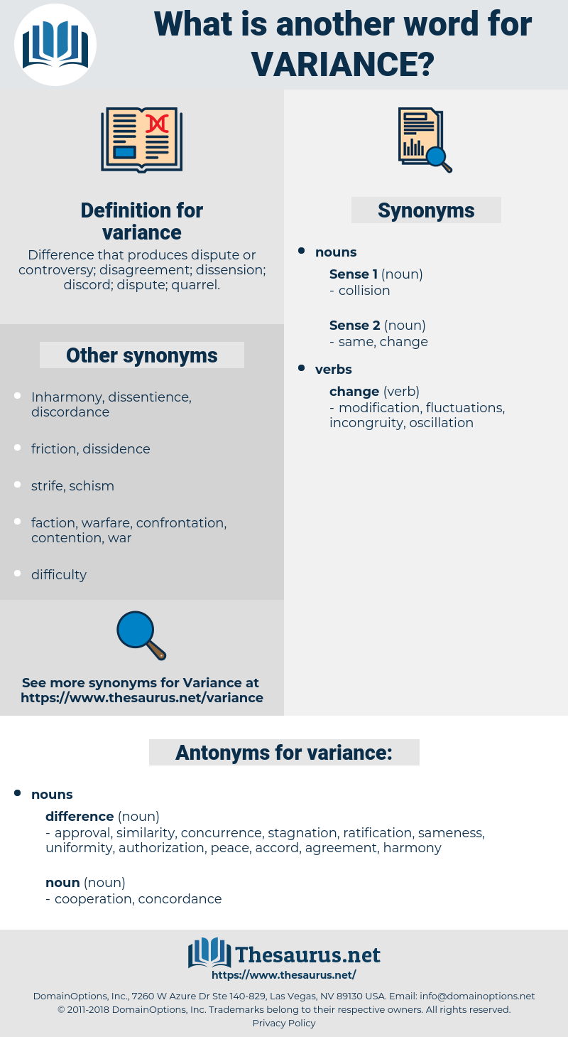 variance, synonym variance, another word for variance, words like variance, thesaurus variance
