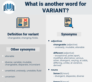 variant, synonym variant, another word for variant, words like variant, thesaurus variant