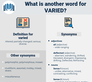 varied, synonym varied, another word for varied, words like varied, thesaurus varied