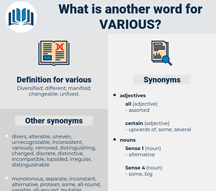 various, synonym various, another word for various, words like various, thesaurus various