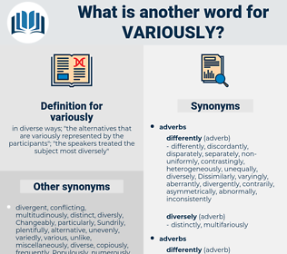 variously, synonym variously, another word for variously, words like variously, thesaurus variously
