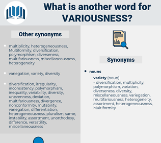 variousness, synonym variousness, another word for variousness, words like variousness, thesaurus variousness