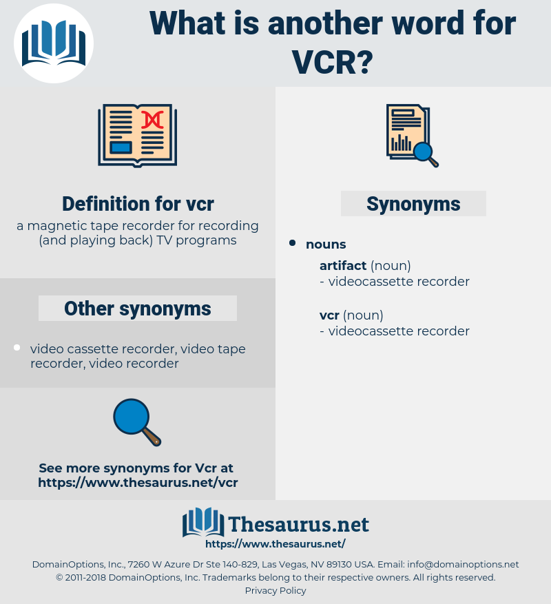 vcr, synonym vcr, another word for vcr, words like vcr, thesaurus vcr