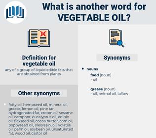 vegetable oil, synonym vegetable oil, another word for vegetable oil, words like vegetable oil, thesaurus vegetable oil