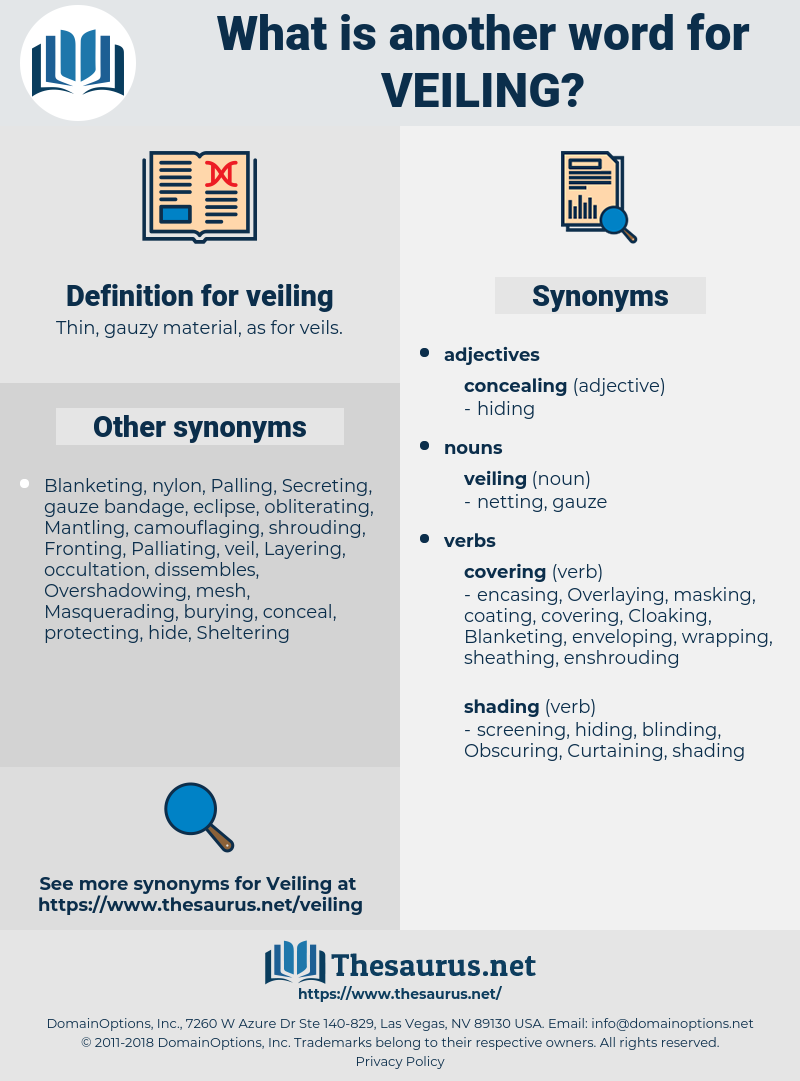 veiling, synonym veiling, another word for veiling, words like veiling, thesaurus veiling