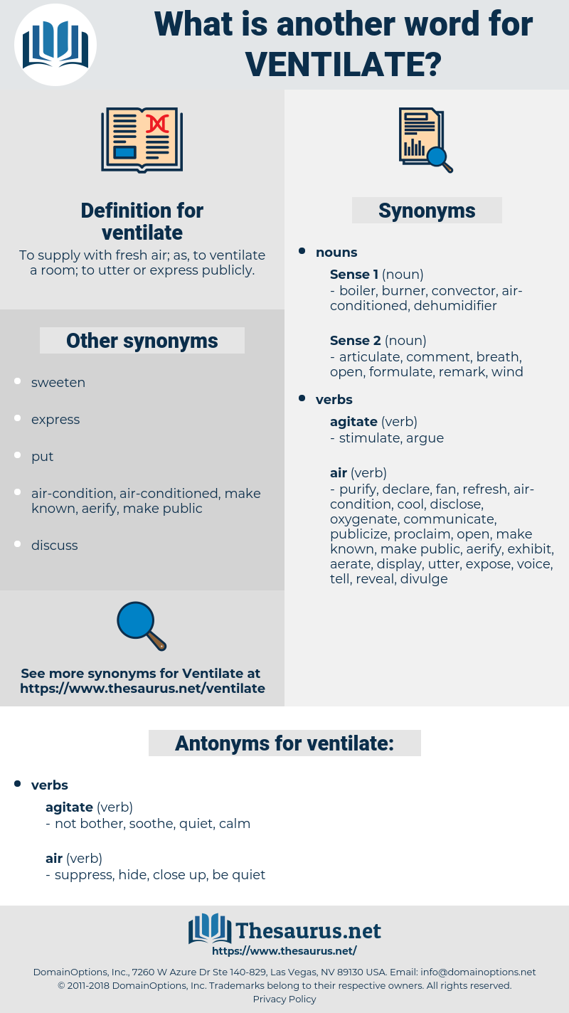 ventilate, synonym ventilate, another word for ventilate, words like ventilate, thesaurus ventilate