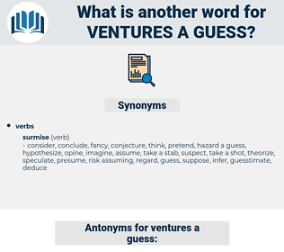 ventures a guess, synonym ventures a guess, another word for ventures a guess, words like ventures a guess, thesaurus ventures a guess