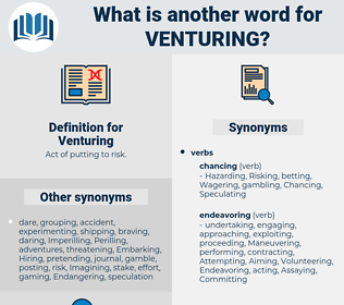 Venturing, synonym Venturing, another word for Venturing, words like Venturing, thesaurus Venturing