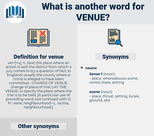 venue, synonym venue, another word for venue, words like venue, thesaurus venue