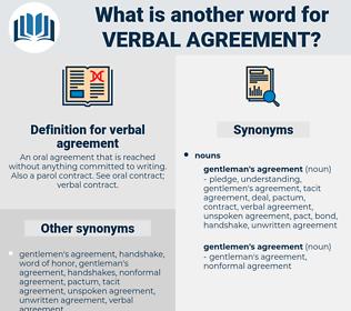 verbal agreement, synonym verbal agreement, another word for verbal agreement, words like verbal agreement, thesaurus verbal agreement