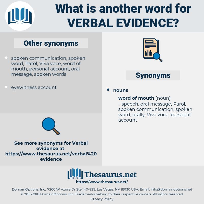verbal evidence, synonym verbal evidence, another word for verbal evidence, words like verbal evidence, thesaurus verbal evidence