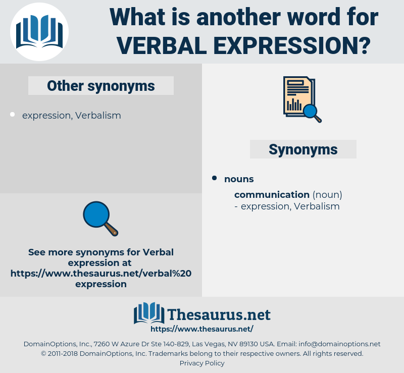 verbal expression, synonym verbal expression, another word for verbal expression, words like verbal expression, thesaurus verbal expression