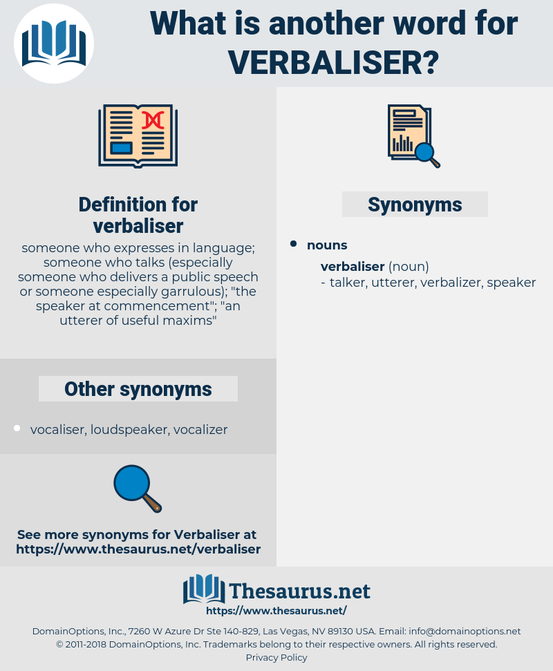verbaliser, synonym verbaliser, another word for verbaliser, words like verbaliser, thesaurus verbaliser