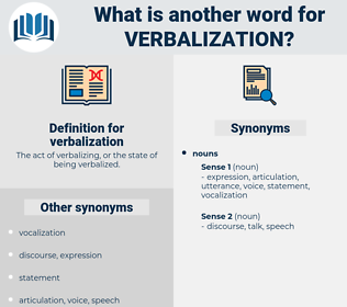 verbalization, synonym verbalization, another word for verbalization, words like verbalization, thesaurus verbalization