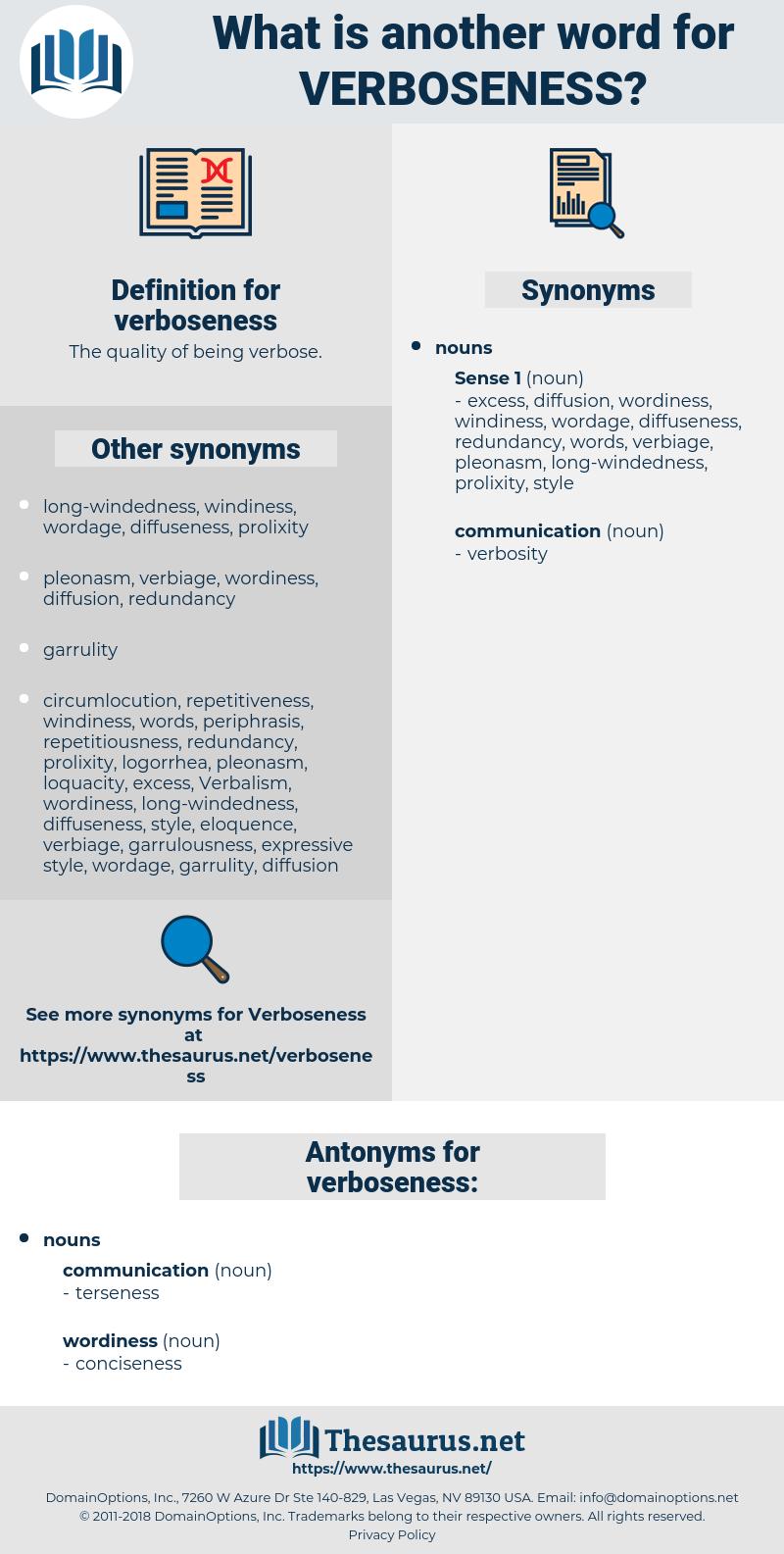 verboseness, synonym verboseness, another word for verboseness, words like verboseness, thesaurus verboseness