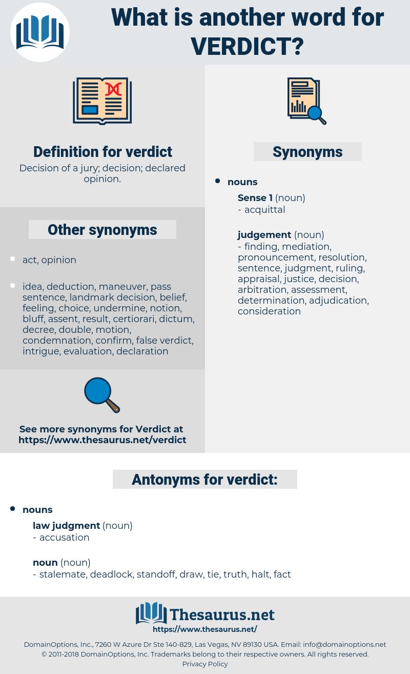 verdict, synonym verdict, another word for verdict, words like verdict, thesaurus verdict