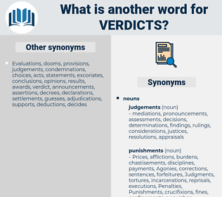 verdicts, synonym verdicts, another word for verdicts, words like verdicts, thesaurus verdicts