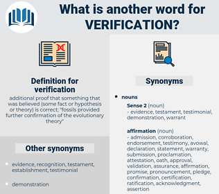 verification, synonym verification, another word for verification, words like verification, thesaurus verification
