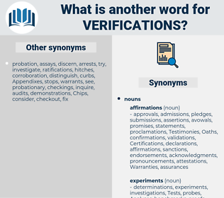 verifications, synonym verifications, another word for verifications, words like verifications, thesaurus verifications