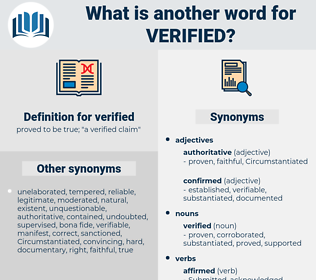 verified, synonym verified, another word for verified, words like verified, thesaurus verified