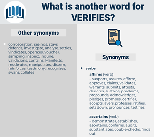 verifies, synonym verifies, another word for verifies, words like verifies, thesaurus verifies