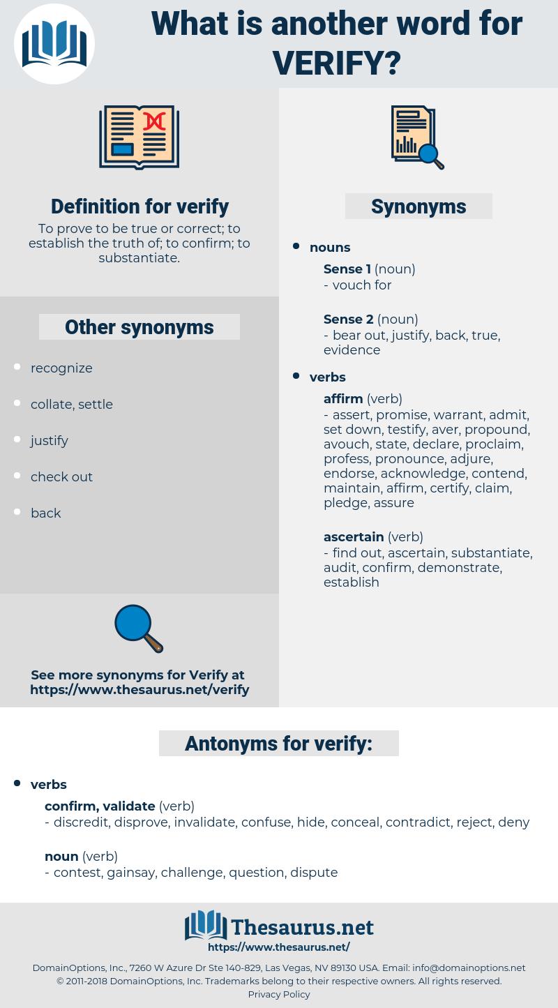 verify, synonym verify, another word for verify, words like verify, thesaurus verify