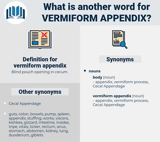 vermiform appendix, synonym vermiform appendix, another word for vermiform appendix, words like vermiform appendix, thesaurus vermiform appendix