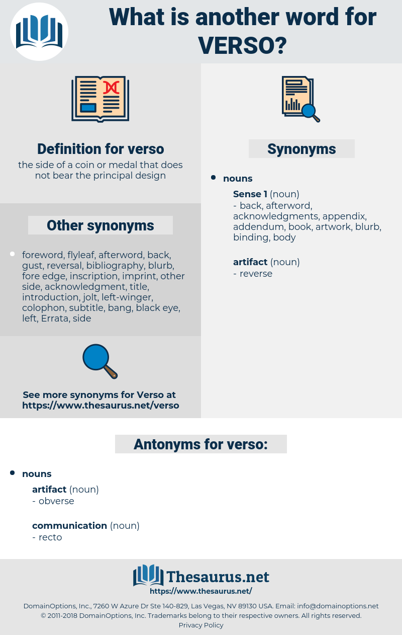 verso, synonym verso, another word for verso, words like verso, thesaurus verso