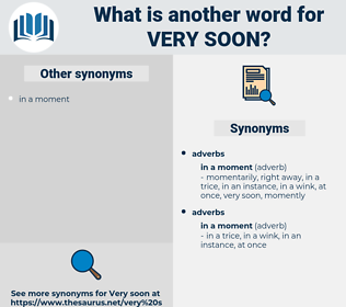 very soon, synonym very soon, another word for very soon, words like very soon, thesaurus very soon