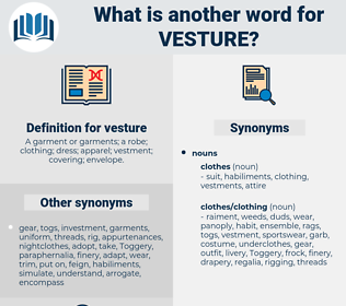 vesture, synonym vesture, another word for vesture, words like vesture, thesaurus vesture
