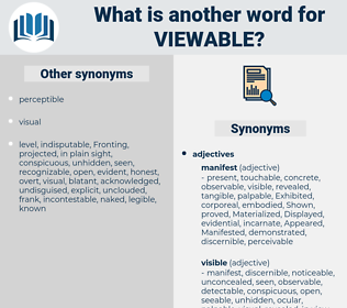 viewable, synonym viewable, another word for viewable, words like viewable, thesaurus viewable