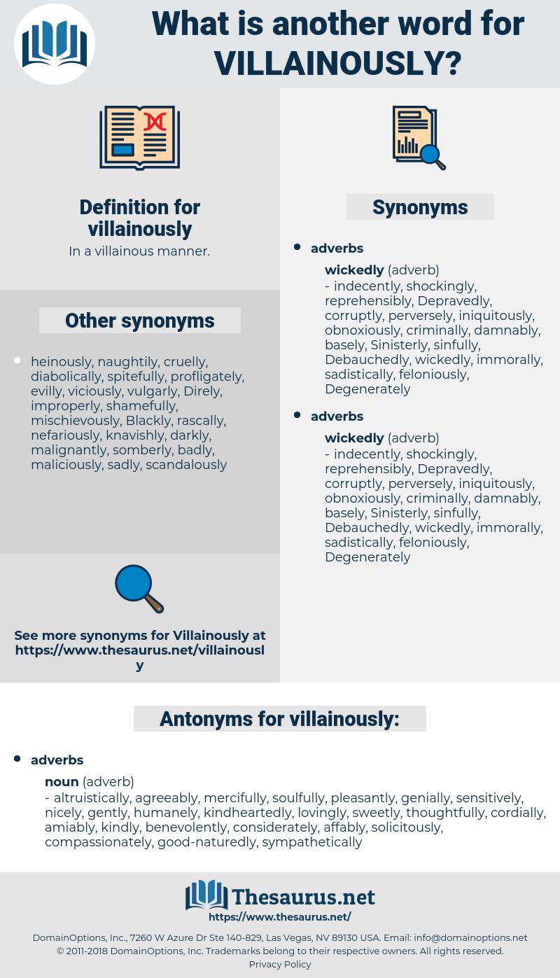 villainously, synonym villainously, another word for villainously, words like villainously, thesaurus villainously