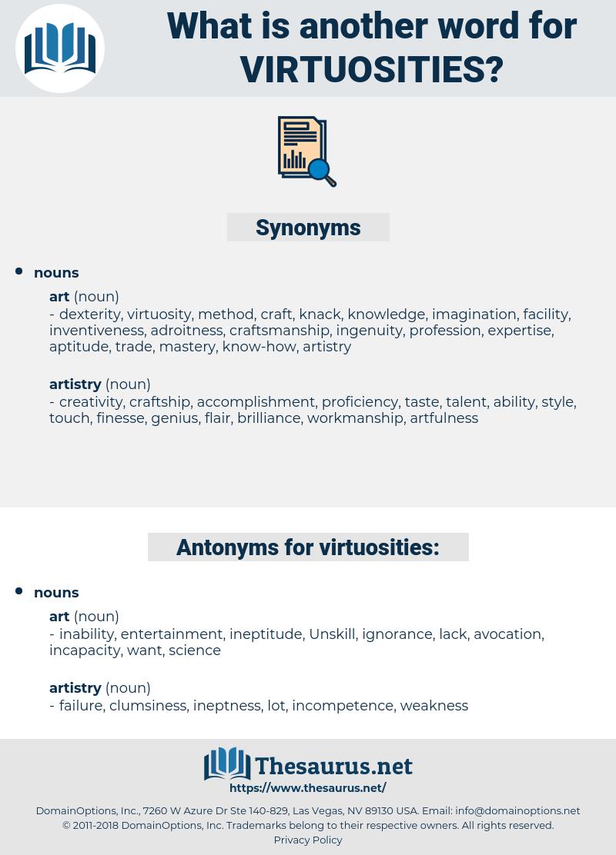 virtuosities, synonym virtuosities, another word for virtuosities, words like virtuosities, thesaurus virtuosities